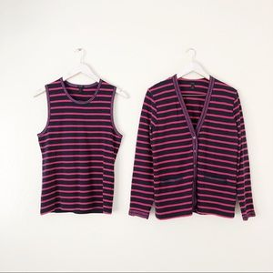 J. Crew Metallic Trim Stripe Cardigan & Tank Set